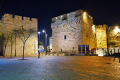 Old City, Jerusalem, Israel. Night view on the Jaffa Gate, Old City, Jerusalem, Israel Stock Images