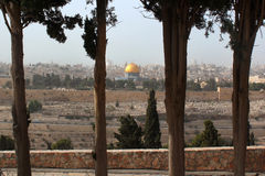 Old city of Jerusalem, Israel. View from the Mount of Olives. Royalty Free Stock Images