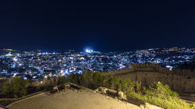 Old City of Jerusalem night timelapse hyperlapse. Muslim Quarter, West Bank. Top view. Near western wall stock footage
