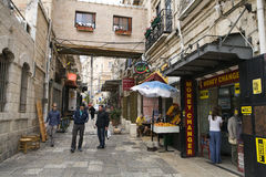 Old City Jerusalem. People are seen on a street in the old city of Jerusalem Stock Image