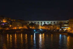 Old city in Kavala, Greece at night royalty free stock photo