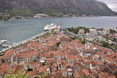 Old City Kotor and Kotor Bay Montenegro. A panoramic style background photograph of the coastal of Kotor, Montenegro and a background of Kotor Bay Royalty Free Stock Photography