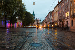 The old city of Lviv at night Stock Image