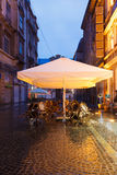 The old city of Lviv at night and cafe Royalty Free Stock Photo