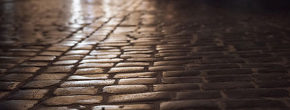 Old City Lviv, Ukraine: Night paving stone street Stock Photography