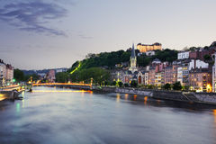 Old city of Lyon at sunset, France Stock Photos