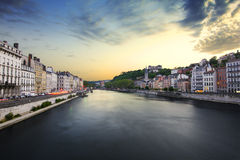 Old city of Lyon at sunset, France Stock Image