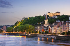Old city of Lyon at sunset, France Stock Photo