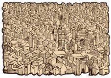 Old city map. Drawing-sepia stock illustration