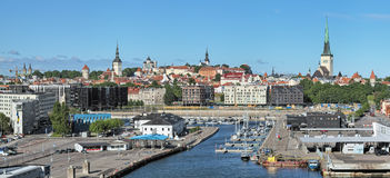 Old City Marina and view of the Old Town of Tallinn, Estonia Stock Photography