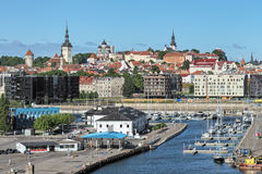 Old City Marina and view of the Old Town of Tallinn, Estonia Royalty Free Stock Photos