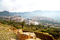 Old city in morocco africa land home. And landscape valley stock photo