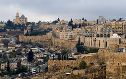 The old city from Mount of Olives, Jerusalem, Israel Stock Photography