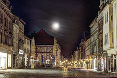 Old city of muelhausen in Thuringia in moonshine. MUEHLHAUSEN, GERMANY - NOV 16, 2013: old city of Muelhausen in Thuringia in moonshine, Germany. Muhlhausen is Stock Photography