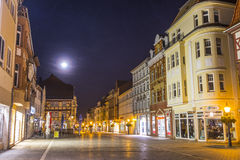 Old city of muelhausen in Thuringia in moonshine. MUEHLHAUSEN, GERMANY - NOV 16, 2013: old city of Muelhausen in Thuringia in moonshine, Germany. Muhlhausen is Royalty Free Stock Photos