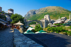 Old City and Old Bridge (Stari Most), Mostar Stock Photos
