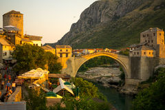 Old City and Old Bridge (Stari Most), Mostar Royalty Free Stock Image
