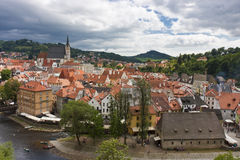 Old city panorama. Overlook on the Cesky Kromlov - a beautiful medieval town in Czech Republic Royalty Free Stock Images