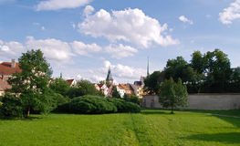 Old city panorama. Panoramic photo of old center of Pardubice city, CZ Royalty Free Stock Images