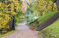 Old city park with autumnal colors Royalty Free Stock Image