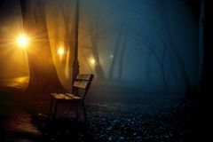 Old City Park in Fog Stock Image