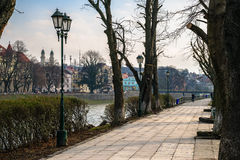 Old city park with lantern. Area of the old city park with lantern in old city Stock Image