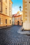 Old city without people . Prague. textured old paper background Royalty Free Stock Images
