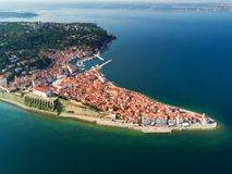 Old city Piran in Slovenia, aerial morning view. royalty free stock image