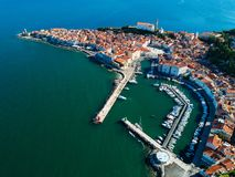 Old city Piran in Slovenia, aerial morning view. royalty free stock photography