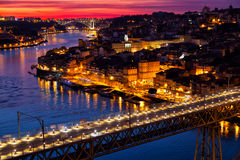 Old city of Porto at sunset Royalty Free Stock Photos
