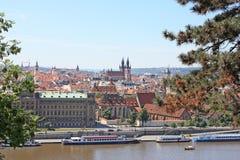 The old city of Prague Czech Republic with Vltava River stock photo