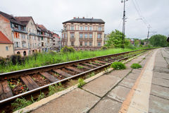Old city railway near the historical buildings Royalty Free Stock Photography