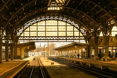 The old city railway station. royalty free stock photo
