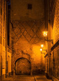 Old city of Riga by night, Latvia, Europe Stock Photography