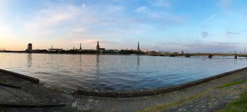 Old city Riga on other river bank.  royalty free stock images