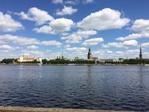 Old city Riga on other river bank.  royalty free stock photo