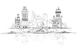 Old city on the river side. Sketch collection Royalty Free Stock Images