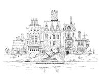 Old city on the river side. Sketch collection Royalty Free Stock Photo