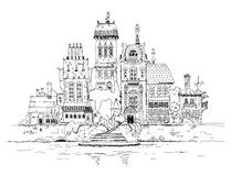 Old city on the river side. Sketch collection Stock Images