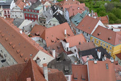 Old city roofs. With red satchel Stock Photography