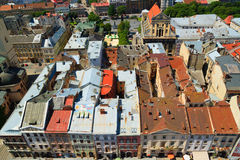 Old city roofs. Old city summer roofs in Lviv Ukraine. Top view royalty free stock photos
