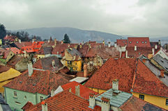 Old city rooftops. Scenic view on rooftops,Romania Stock Images