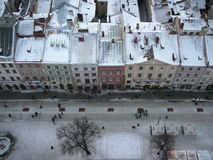 Old city's roofs. Beautiful sight from top of city tower (Lviv, West Ukraine&#x29 Stock Photo