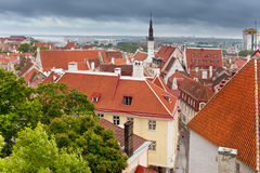 Old city's roofs in a thunder-storm. Tallinn. Stock Photos