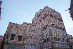 The Old City of Sana'a, decorated house, palace, Yemen. The Old City of Sana'a, the oldest continuously inhabited and populated city in the world, Republic of stock photo