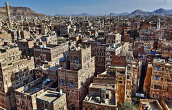 Old city of Sana'a in HDR Royalty Free Stock Photography
