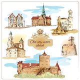 Old city sketch colored. Old city buildings colored sketch decorative elements set isolated vector illustration royalty free illustration