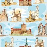 Old city sketch seamless pattern Stock Photos