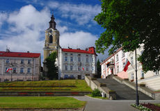 Old city square in Przemysl, Poland. City square with old buildings, stairway and belfry in Przemysl, Poland Stock Photos