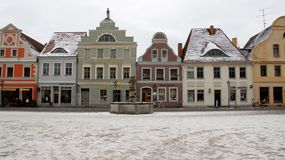 Old City Squares Baroque Style In Winter. Old market old building baroque and local style old town squares in winter time. Cottbus Germany Stock Images